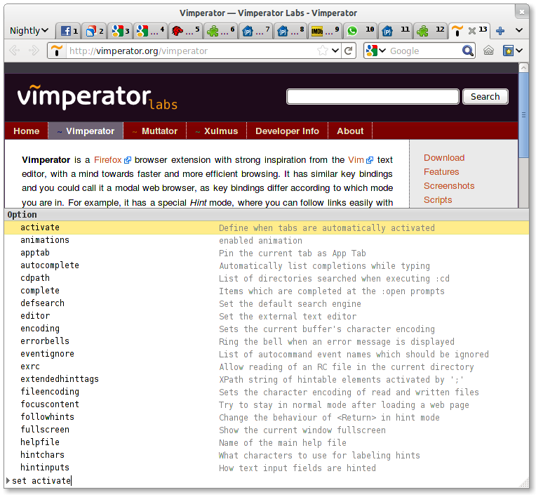 Vimperator Completion