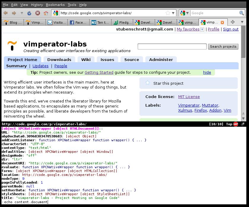 Vimperator Javascript